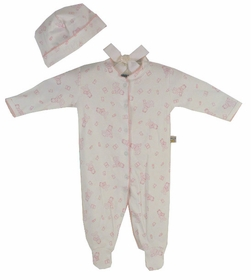 cotton footie romper set - baby girl