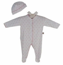 cotton footie romper set- pink snowflake