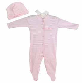 cotton footie romper set - pink ducks