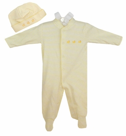 cotton footie romper set - yellow ducks