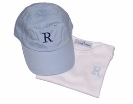 monogrammed baseball hat and tee shirt set