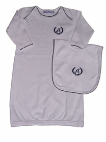 royal crest monogrammed gown with optional bib