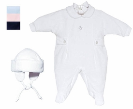 velour footie and hat set