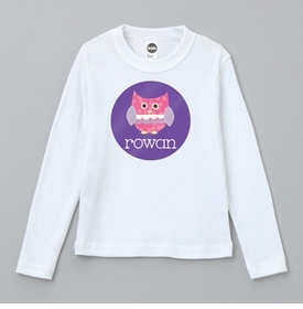 personalized pink owl tee shirt