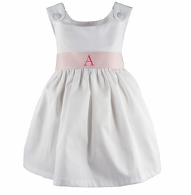 personalized white pique dress - light pink sash