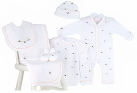 rosebuds premium embroidered layette set by gordonsbury