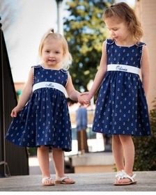 pique anchor dress with personalized ribbon sash
