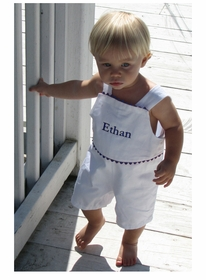 personalized boy's romper-hamptons white with navy ric rac