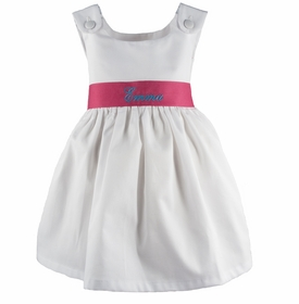 personalized white pique dress - hot pink sash