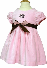 cap sleeve pink velveteen dress with chocolate brown ribbon
