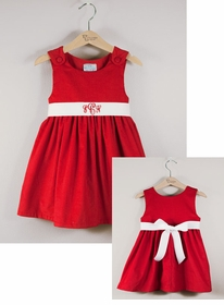 corduroy sash dress - red/white