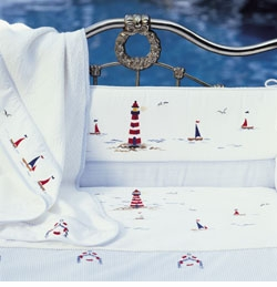 gordonsbury sailing away embroidered crib sheet