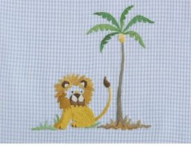 gordonsbury on safari blue embroidered  crib sheet