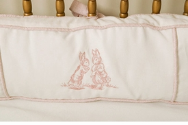 embroidered bunny crib bedding- pink by art for kids