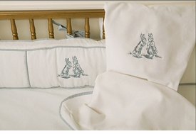 embroidered bunny crib bedding - blue by art for kids