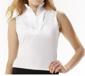 ruffle white sleeveless shirt