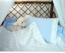 aralie and pitter patter blue crib bedding by blauen