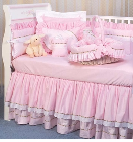 pink celeste and checker crib bedding by blauen
