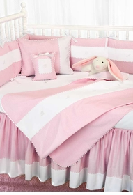 mini pink checker crib bedding by blauen