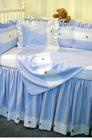 blue pitter patter with bears crib bedding by blauen