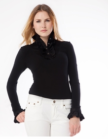 ruffle black long sleeved shirt