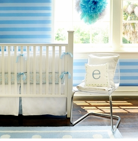 white pique baby bedding with blue trim