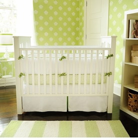 white pique crib bedding set with green trim - custom made to order