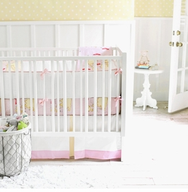 out to sea in pink crib bedding set