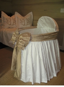 gathered skirt bassinet with cover and bow