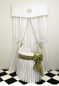 pleated skirt bassinet with cover and bow by sterling