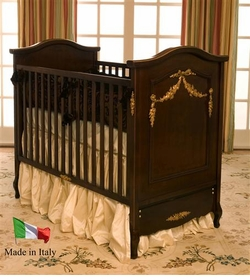 french panel crib by art for kids (antique cherry /gilding trim)