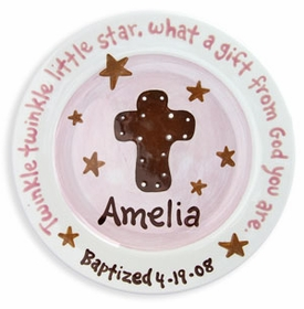 personalized pink cross plate