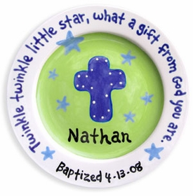 personalized blue green cross plate