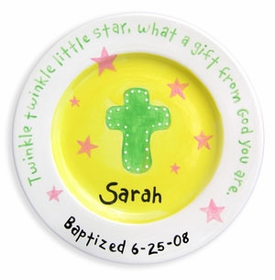 girls personalized cross and stars plate