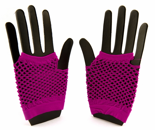 Pink Fingerless Fishnet Gloves - Clearance!