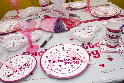 Pink and Purple Penis Party Dinner Plates - 10