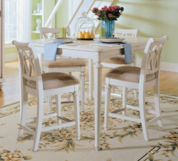 American Drew Camden White Gathering Table with 4 Barstools - click to enlarge