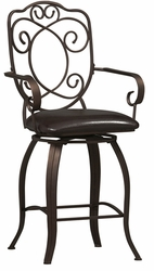 "Linon Crested Back 24"" Counter Stool - 02786MTL-01-KD-U - click to enlarge"
