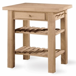 International Concepts Unpainted Kitchen Island with Butcher Block - click to enlarge