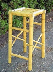 Hand Crafted Natural Bamboo Tiki Bar Stool - click to enlarge