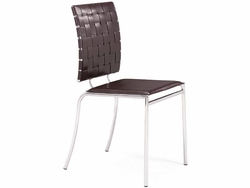 Zuo Criss Cross Dining Chair with Leatherette Back - click to enlarge