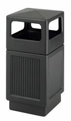 Safco Canmeleon Recessed Panel Black Trash Bin - click to enlarge