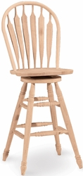 """International Concepts Steambent Unfinished 30"""" Swivel Wind Stool - click to enlarge"""
