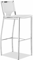 Zuo Modern Lark Leather Bar Stools with Chrome Frame - click to enlarge
