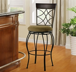 "Linon Curves Metallic Brown 30"" Bar Stool with Brown Wood - click to enlarge"