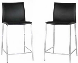 Wholesale Interiors Winston Black Leather Counter Stool - Set of 2 - click to enlarge