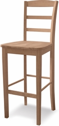 "Whitewood International Concepts Unfinished 24"" Madrid Counter Stool - click to enlarge"