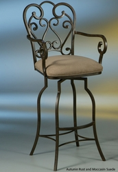 Pastel Magnolia Swivel Barstool with Arms - click to enlarge