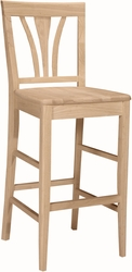 "International Concepts Unfinished 29"" Seat Height Stool with Fanback - click to enlarge"