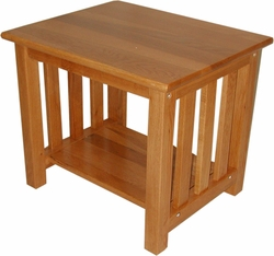 Elite Oakridge Wood Picket End Table in Medium Oak - click to enlarge